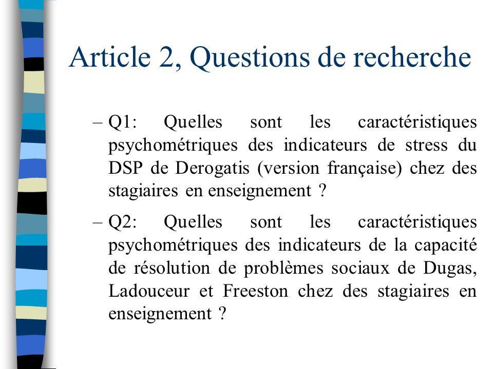 Article 2 n Questions de recherche n Méthodologie n Résultats n Conclusion