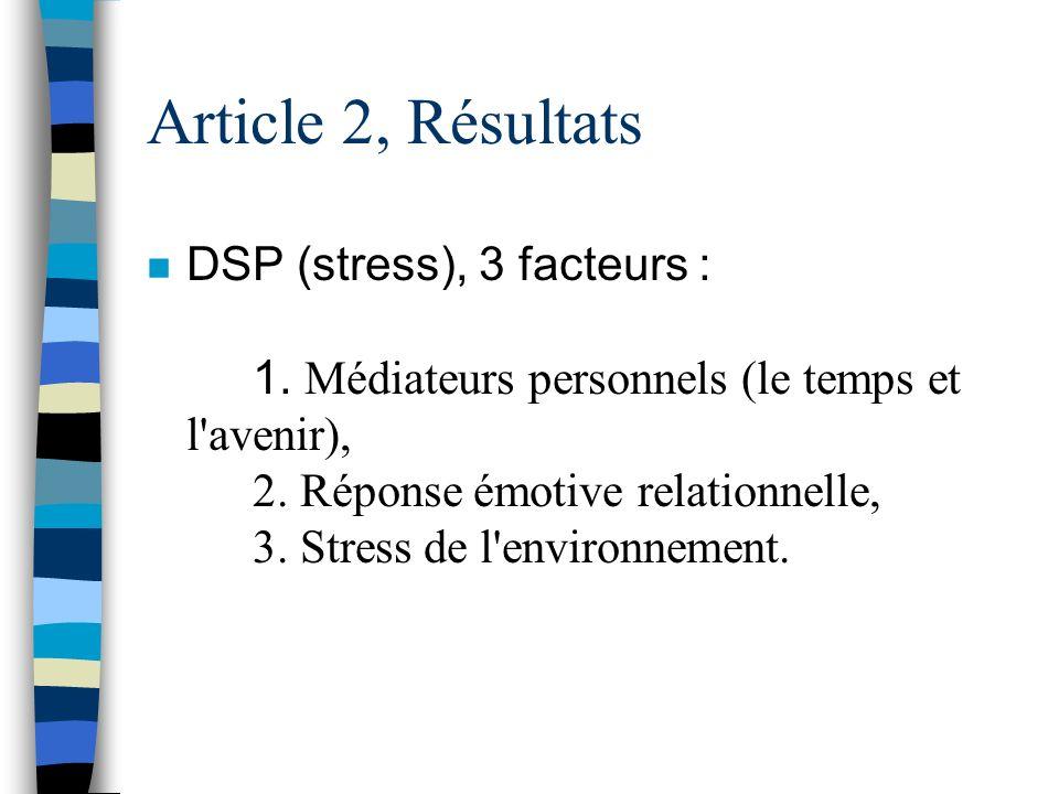 Article 2, Méthodologie n Instruments : 1. Stress = DSP 2. Résolution de problèmes sociaux = IRPS 3. Anxiété latente (MMPI)