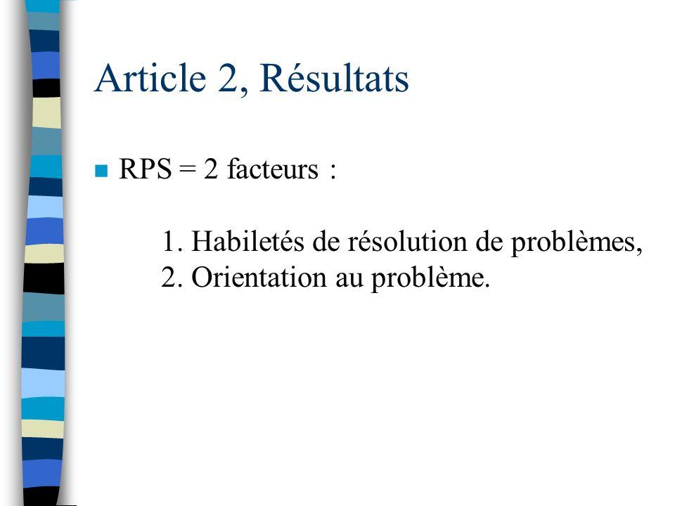 Article 2, Résultats DSP (stress), 3 facteurs : 1. Médiateurs personnels (le temps et l'avenir), 2. Réponse émotive relationnelle, 3. Stress de l'envi