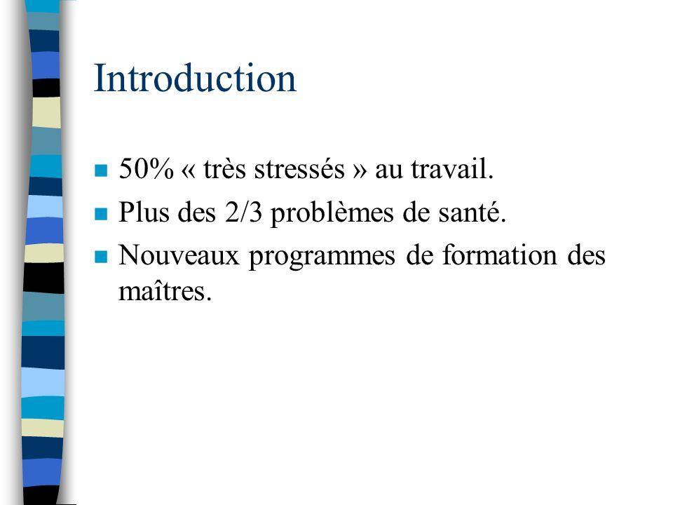 Introduction n 50% « très stressés » au travail.n Plus des 2/3 problèmes de santé.