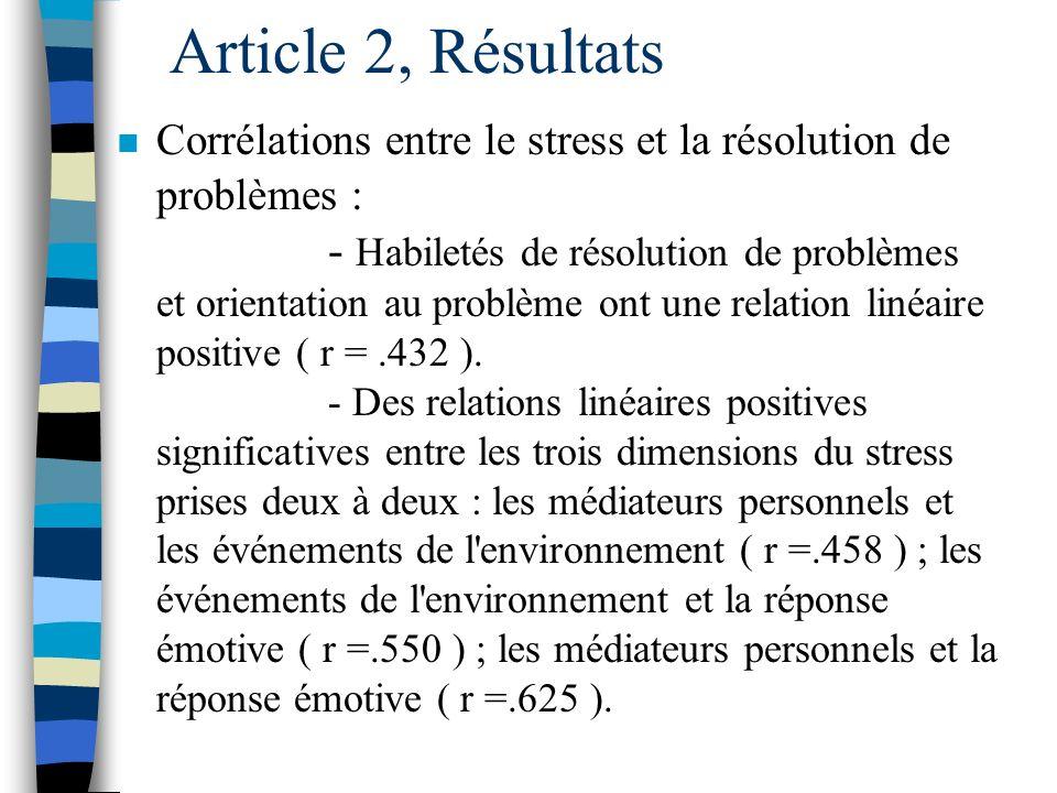 Article 2, Résultats n RPS = 2 facteurs : 1. Habiletés de résolution de problèmes, 2. Orientation au problème.