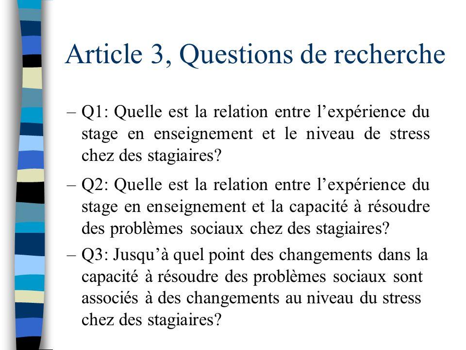 Article 3 n Questions de recherche n Méthodologie n Résultats n Discussion