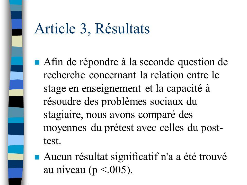 Article 3, Résultats n Afin de répondre à notre première question de recherche concernant la relation entre le stage en enseignement et le niveau de s