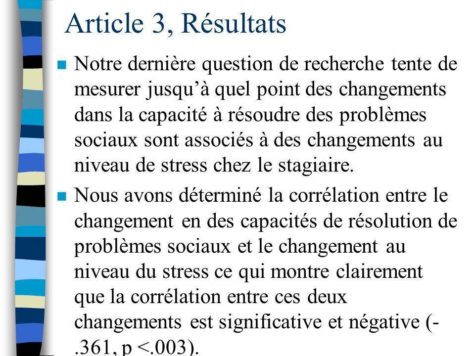 Article 3, Résultats n Afin de répondre à la seconde question de recherche concernant la relation entre le stage en enseignement et la capacité à réso