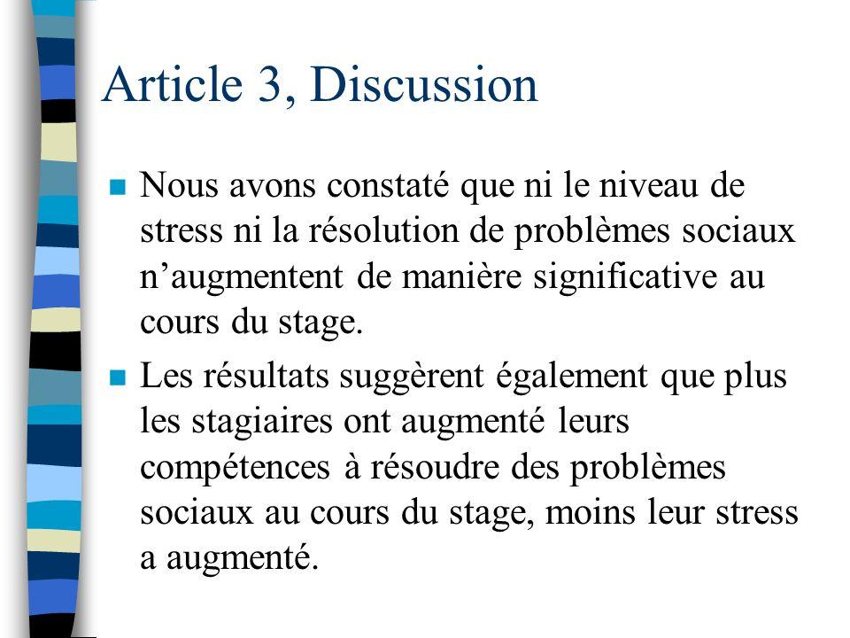 Article 3, Résultats Troisièmement : Dépression du questionnaire DSP® et Aspects Cognitifs du questionnaire SPS. n Quatrièmement : Anxiété du question