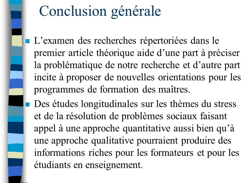 Article 3, Discussion n En dautres mots, en enseignant aux stagiaires différentes formes de résolution de problèmes sociaux « centrées sur le problème