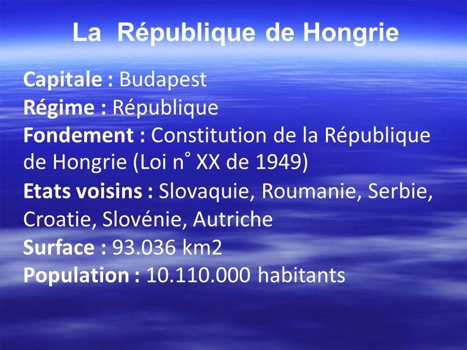 La République de Hongrie Capitale : Budapest Régime : République Fondement : Constitution de la République de Hongrie (Loi n° XX de 1949) Etats voisin