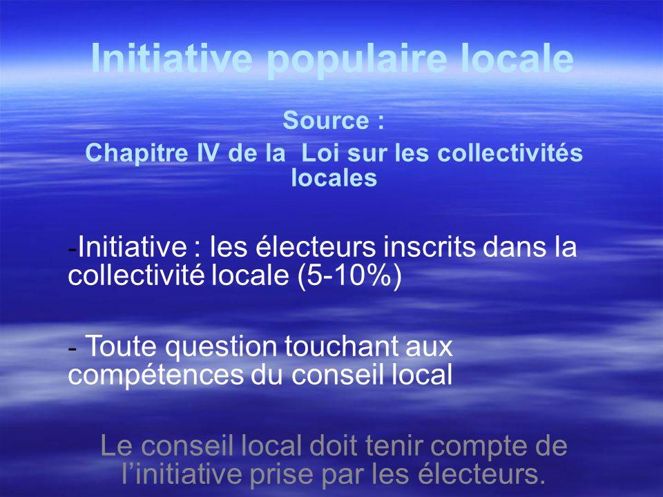 Initiative populaire locale Source : Chapitre IV de la Loi sur les collectivités locales - Initiative : les électeurs inscrits dans la collectivité lo