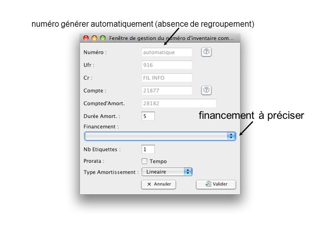 numéro générer automatiquement (absence de regroupement) financement à préciser