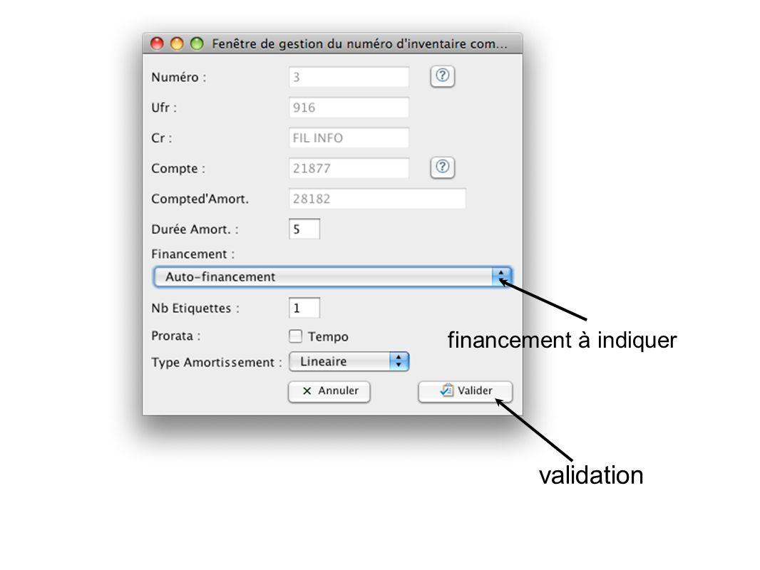 financement à indiquer validation