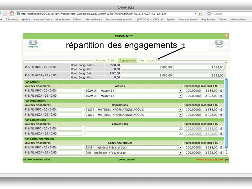 répartition des engagements +