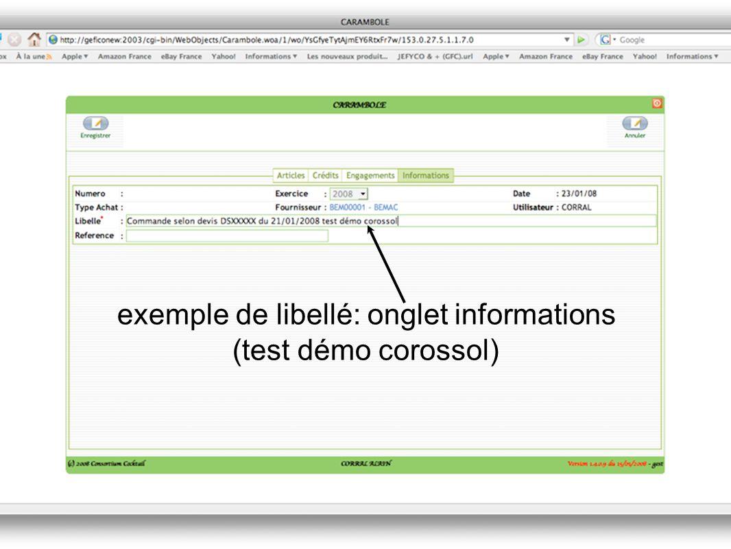 exemple de libellé: onglet informations (test démo corossol)