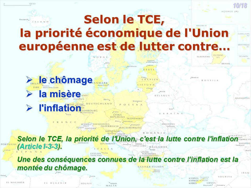 Selon le TCE, la priorité économique de l Union européenne est de lutter contre… le chômage le chômage la misère la misère l inflation l inflation Selon le TCE, la priorité de l Union, c est la lutte contre l inflation (Article I-3-3).