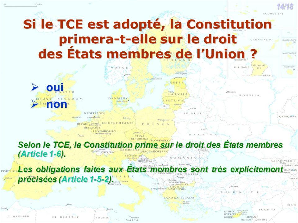 Si le TCE est adopté, la Constitution primera-t-elle sur le droit des États membres de lUnion ? oui oui non non Selon le TCE, la Constitution prime su