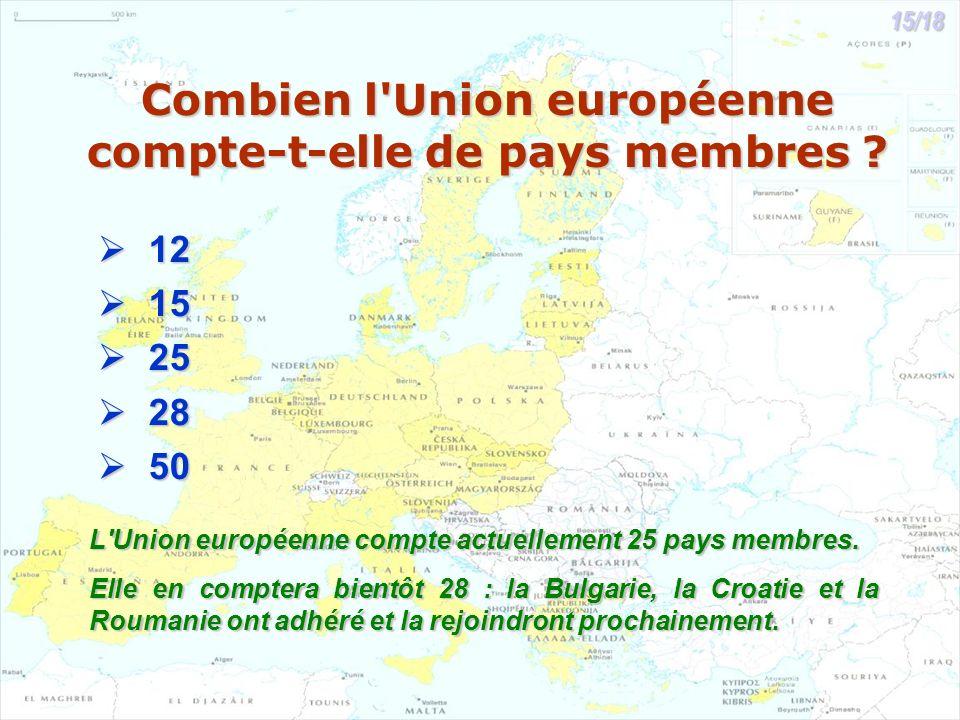 Combien l'Union européenne compte-t-elle de pays membres ? 12 12 15 15 25 25 28 28 50 50 L'Union européenne compte actuellement 25 pays membres. Elle