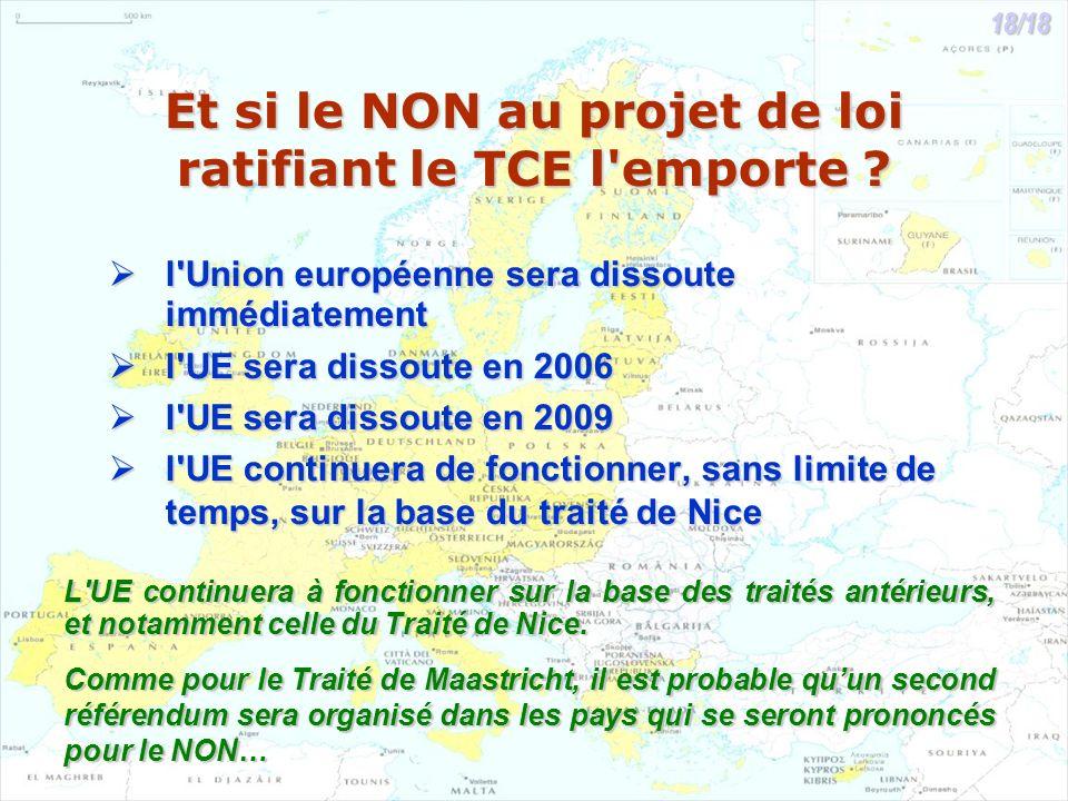 Et si le NON au projet de loi ratifiant le TCE l'emporte ? l'Union européenne sera dissoute immédiatement l'Union européenne sera dissoute immédiateme
