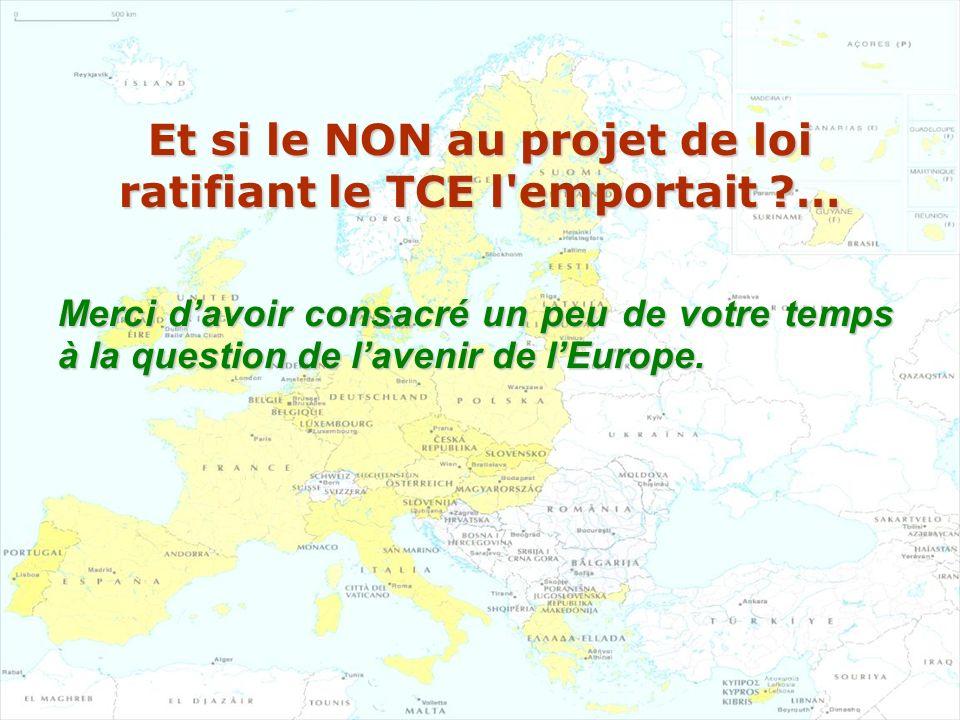 Et si le NON au projet de loi ratifiant le TCE l'emportait ?… Merci davoir consacré un peu de votre temps à la question de lavenir de lEurope.