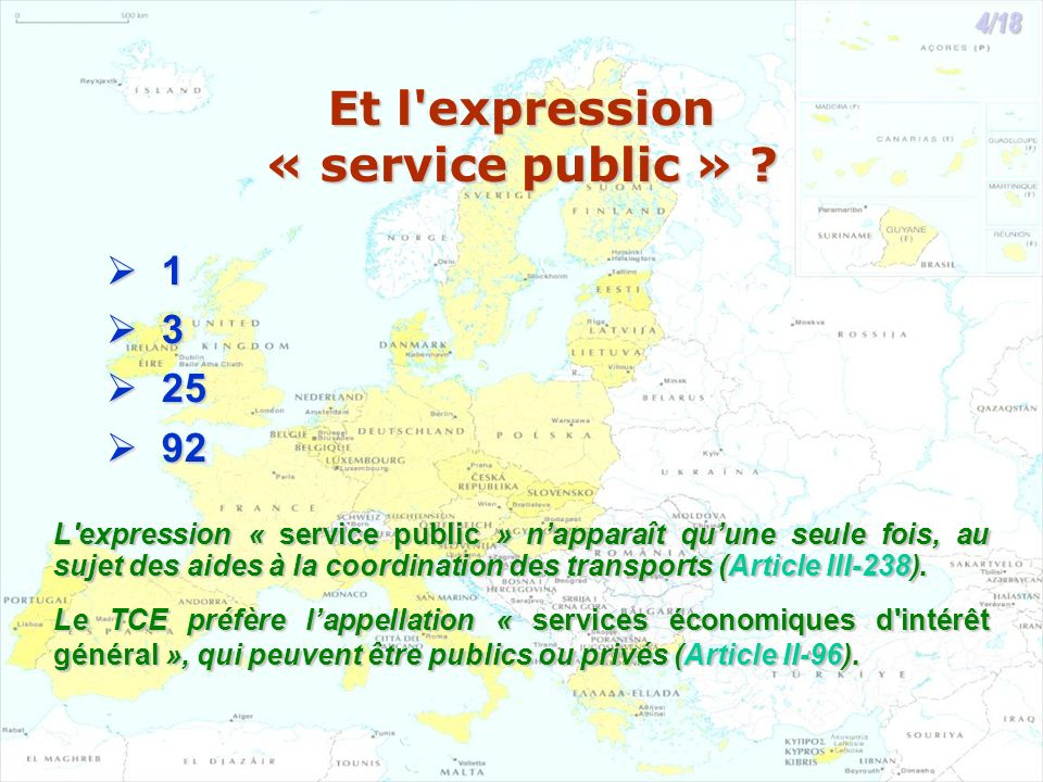 Et l'expression « service public » ? 1 3 25 25 92 92 L'expression « service public » napparaît quune seule fois, au sujet des aides à la coordination