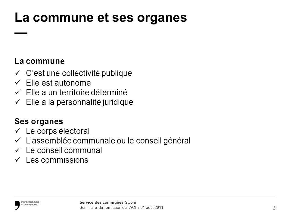 23 Service des communes SCom Séminaire de formation de lACF / 31 août 2011 Questions