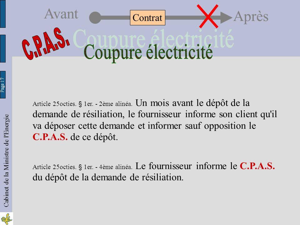Page 17 Cabinet de la Ministre de l Energie Avant Après Article 25octies.