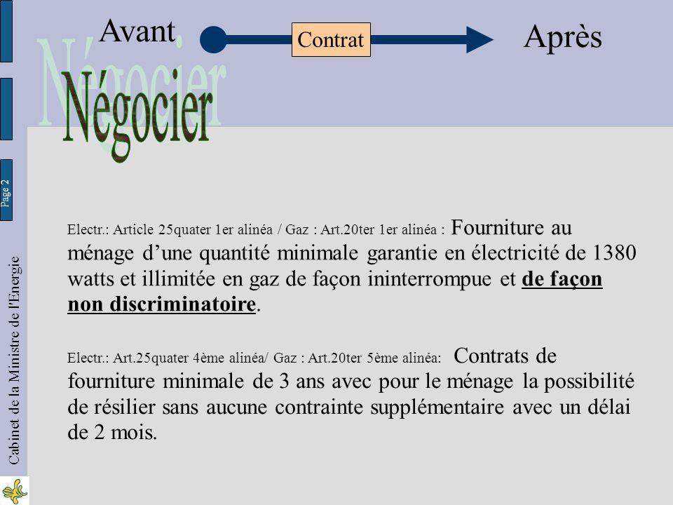 Page 23 Cabinet de la Ministre de l Energie Avant Après Contrat Electr.: Art.25octies.