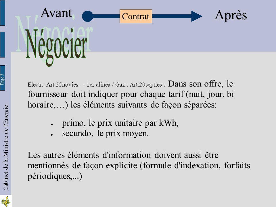 Page 24 Cabinet de la Ministre de l Energie Avant Après Contrat Electr.: Art.25octies.