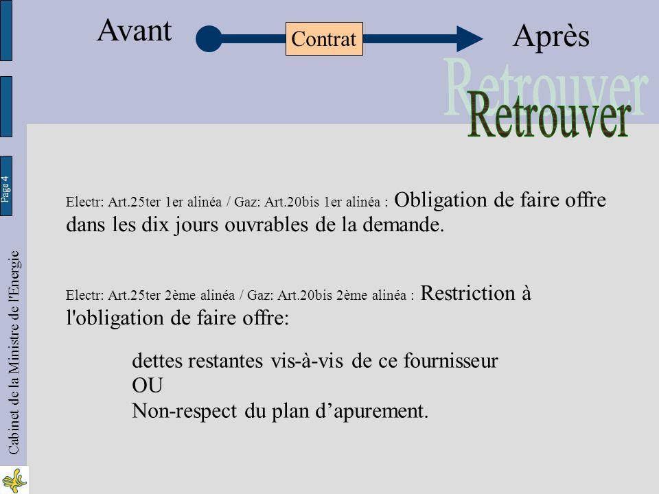 Page 4 Cabinet de la Ministre de l Energie Electr: Art.25ter 1er alinéa / Gaz: Art.20bis 1er alinéa : Obligation de faire offre dans les dix jours ouvrables de la demande.