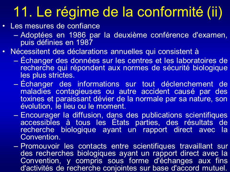 11. Le régime de la conformité (ii) Les mesures de confiance –Adoptées en 1986 par la deuxième conférence d'examen, puis définies en 1987 Nécessitent