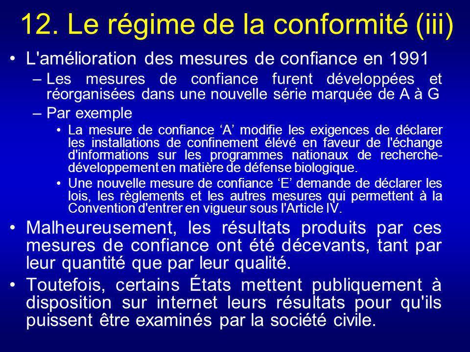 12. Le régime de la conformité (iii) L'amélioration des mesures de confiance en 1991 –Les mesures de confiance furent développées et réorganisées dans