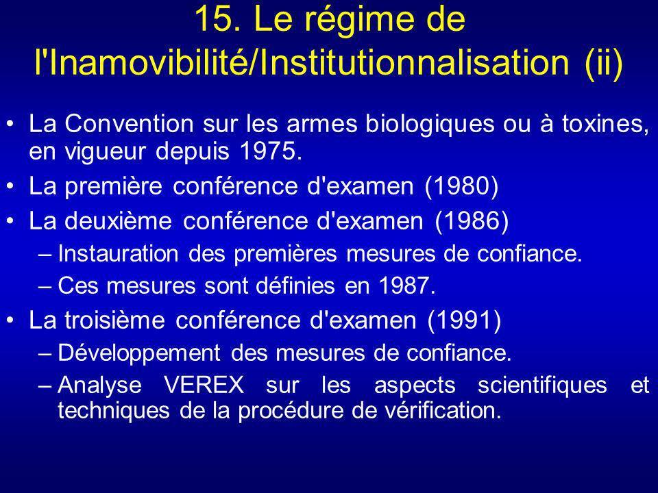 15. Le régime de l'Inamovibilité/Institutionnalisation (ii) La Convention sur les armes biologiques ou à toxines, en vigueur depuis 1975. La première