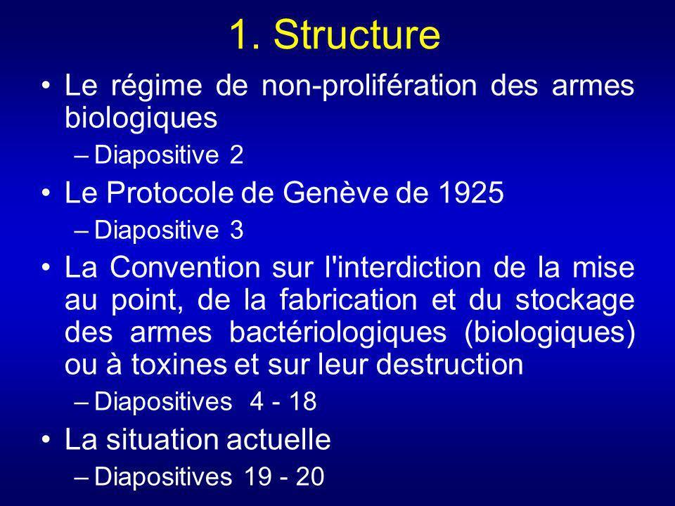 1. Structure Le régime de non-prolifération des armes biologiques –Diapositive 2 Le Protocole de Genève de 1925 –Diapositive 3 La Convention sur l'int