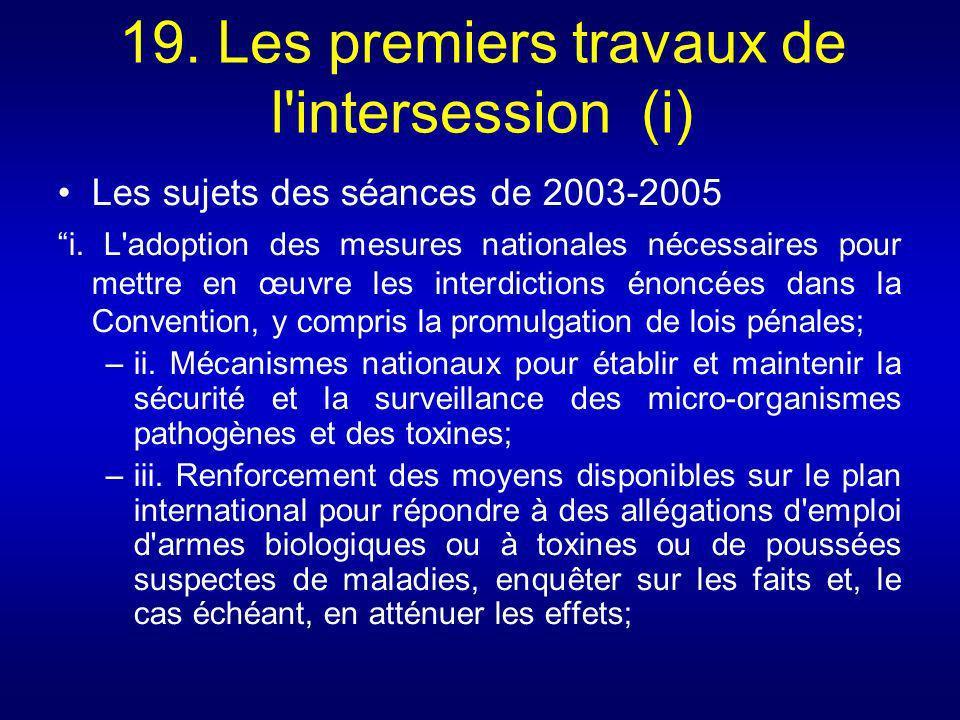 19. Les premiers travaux de l'intersession (i) Les sujets des séances de 2003-2005 i. L'adoption des mesures nationales nécessaires pour mettre en œuv