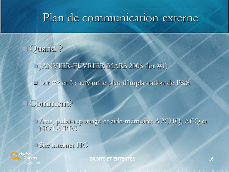 DROITS ET ENTENTES16 Plan de communication externe Quand .