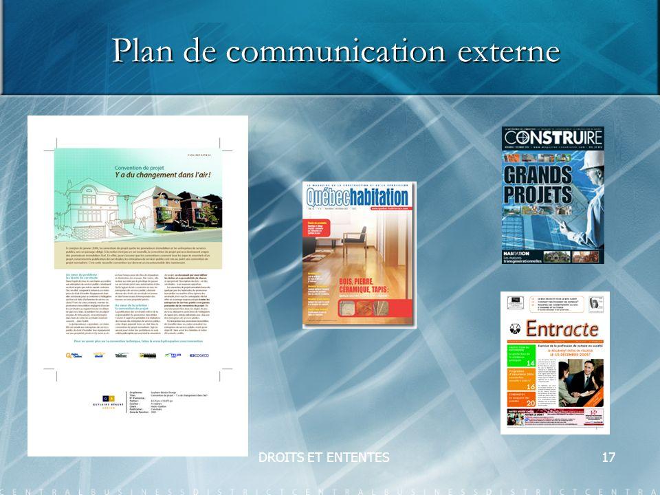 DROITS ET ENTENTES17 Plan de communication externe