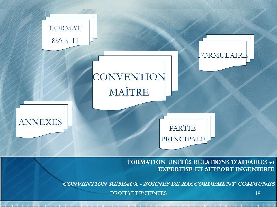 DROITS ET ENTENTES19 FORMATION UNITÉS RELATIONS D AFFAIRES et EXPERTISE ET SUPPORT INGÉNIERIE CONVENTION RÉSEAUX - BORNES DE RACCORDEMENT COMMUNES CONVENTION MAÎTRE FORMAT 8 ½ x 11 FORMULAIRE PARTIE PRINCIPALE ANNEXES