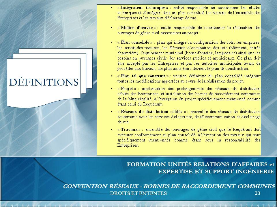 DROITS ET ENTENTES23 FORMATION UNITÉS RELATIONS D AFFAIRES et EXPERTISE ET SUPPORT INGÉNIERIE CONVENTION RÉSEAUX - BORNES DE RACCORDEMENT COMMUNES DÉFINITIONS