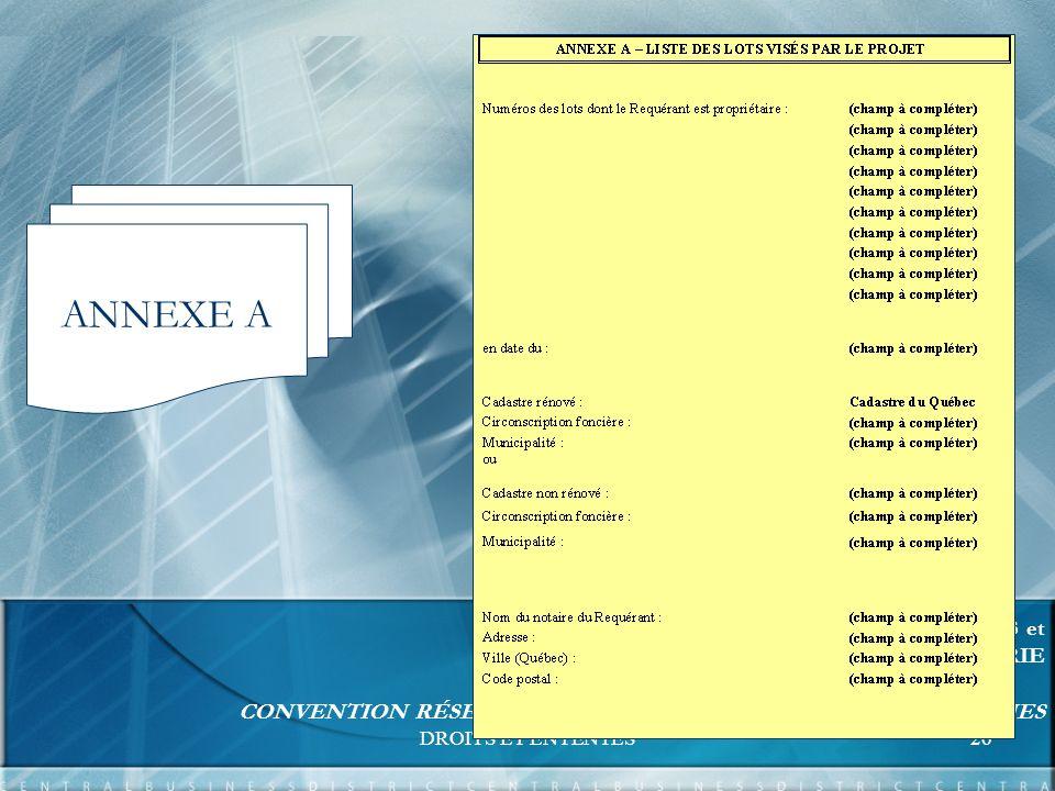 DROITS ET ENTENTES26 FORMATION UNITÉS RELATIONS D AFFAIRES et EXPERTISE ET SUPPORT INGÉNIERIE CONVENTION RÉSEAUX - BORNES DE RACCORDEMENT COMMUNES ANNEXE A