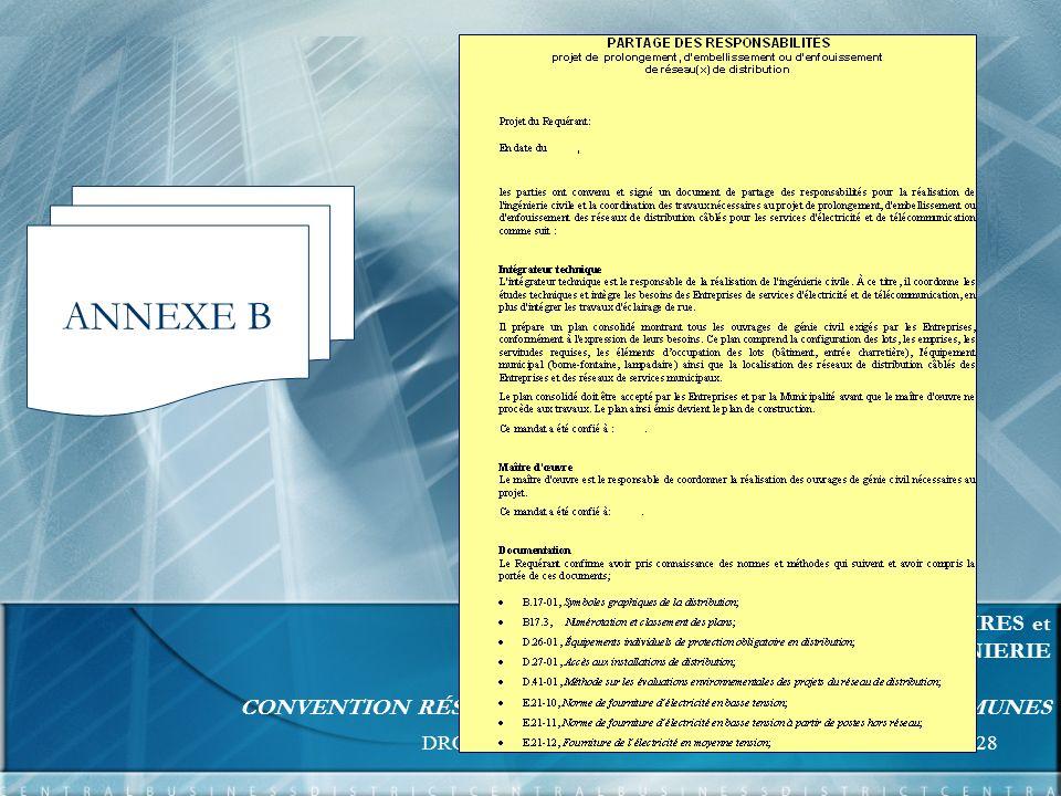 DROITS ET ENTENTES28 FORMATION UNITÉS RELATIONS D AFFAIRES et EXPERTISE ET SUPPORT INGÉNIERIE CONVENTION RÉSEAUX - BORNES DE RACCORDEMENT COMMUNES ANNEXE B