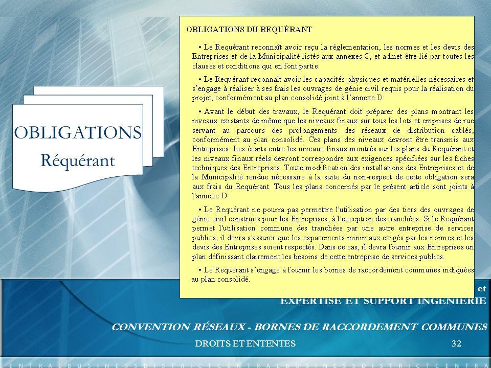 DROITS ET ENTENTES32 FORMATION UNITÉS RELATIONS D AFFAIRES et EXPERTISE ET SUPPORT INGÉNIERIE CONVENTION RÉSEAUX - BORNES DE RACCORDEMENT COMMUNES OBLIGATIONS Réquérant
