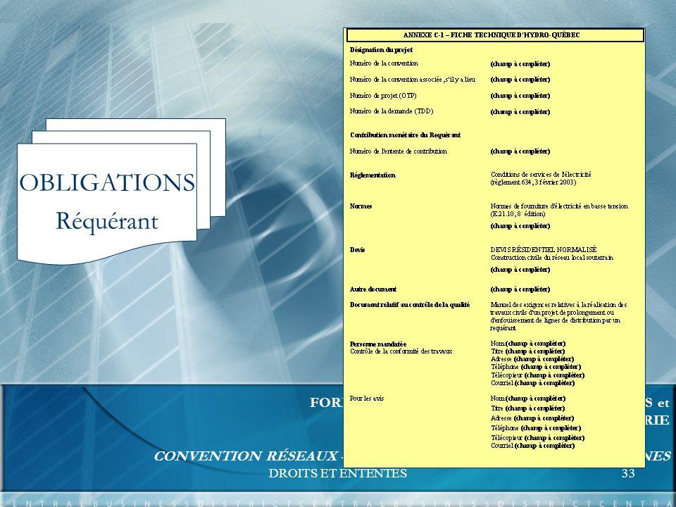 DROITS ET ENTENTES33 FORMATION UNITÉS RELATIONS D AFFAIRES et EXPERTISE ET SUPPORT INGÉNIERIE CONVENTION RÉSEAUX - BORNES DE RACCORDEMENT COMMUNES OBLIGATIONS Réquérant