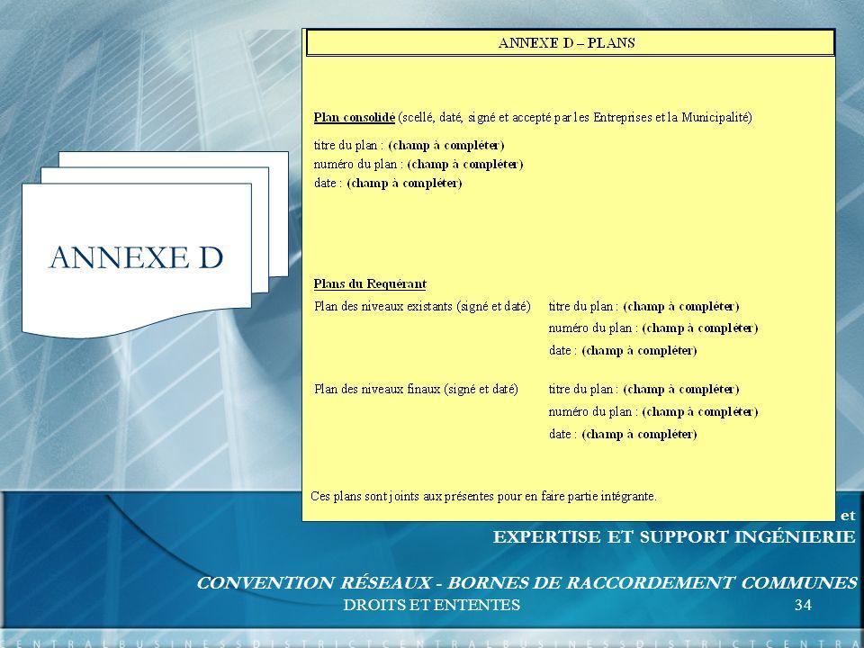 DROITS ET ENTENTES34 FORMATION UNITÉS RELATIONS D AFFAIRES et EXPERTISE ET SUPPORT INGÉNIERIE CONVENTION RÉSEAUX - BORNES DE RACCORDEMENT COMMUNES ANNEXE D