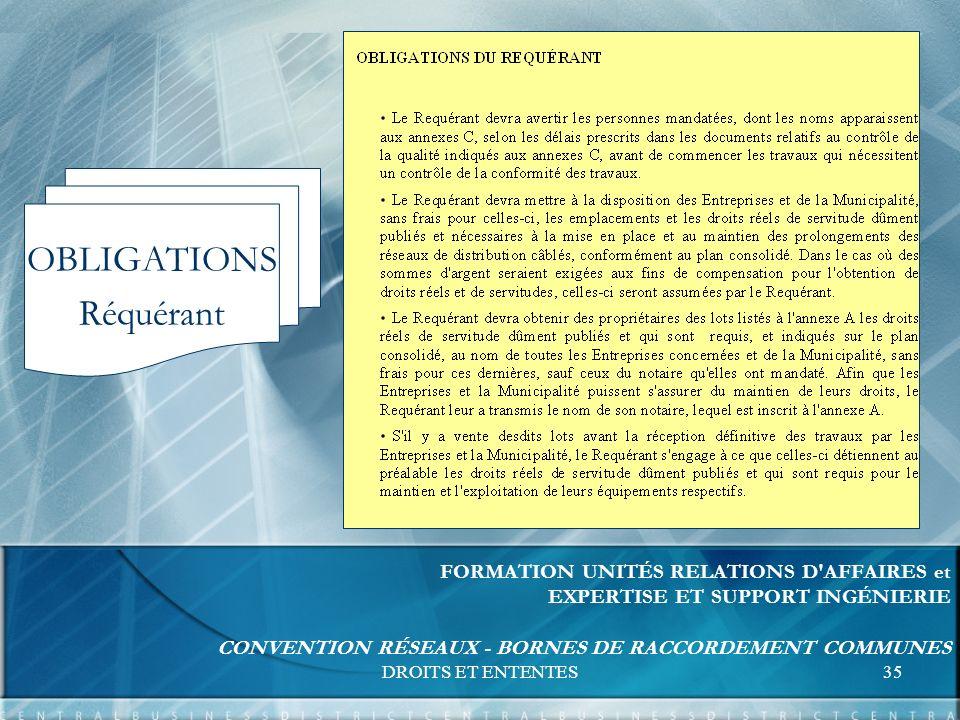 DROITS ET ENTENTES35 FORMATION UNITÉS RELATIONS D AFFAIRES et EXPERTISE ET SUPPORT INGÉNIERIE CONVENTION RÉSEAUX - BORNES DE RACCORDEMENT COMMUNES OBLIGATIONS Réquérant