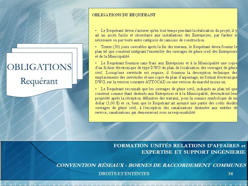 DROITS ET ENTENTES36 FORMATION UNITÉS RELATIONS D AFFAIRES et EXPERTISE ET SUPPORT INGÉNIERIE CONVENTION RÉSEAUX - BORNES DE RACCORDEMENT COMMUNES OBLIGATIONS Requérant