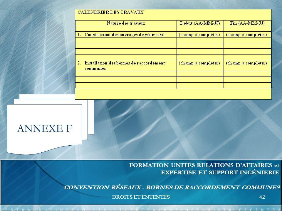 DROITS ET ENTENTES42 FORMATION UNITÉS RELATIONS D AFFAIRES et EXPERTISE ET SUPPORT INGÉNIERIE CONVENTION RÉSEAUX - BORNES DE RACCORDEMENT COMMUNES ANNEXE F
