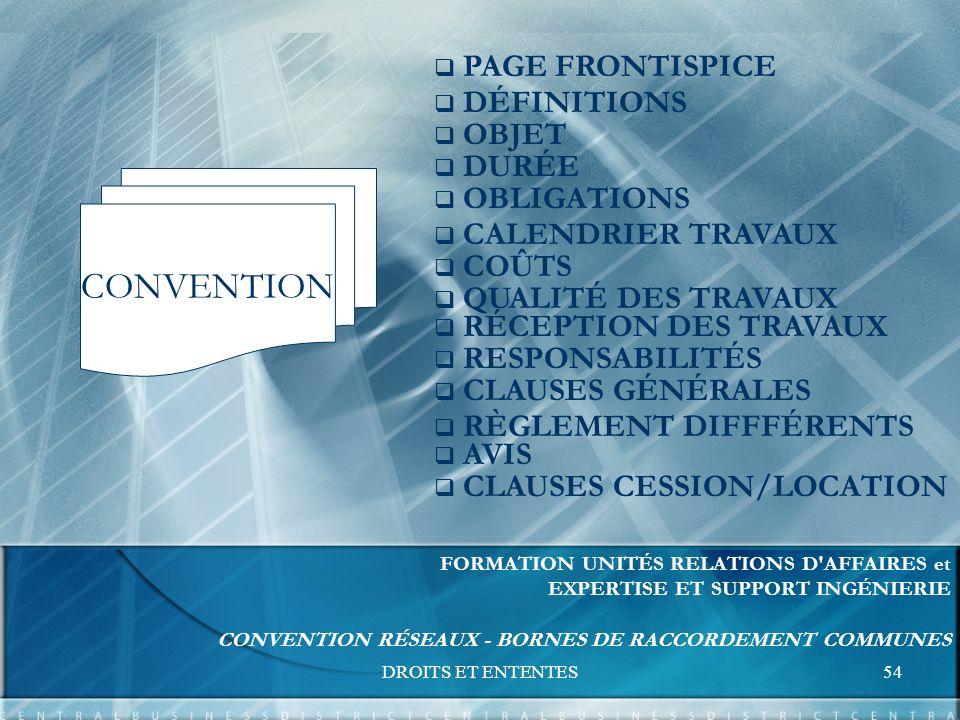 DROITS ET ENTENTES54 FORMATION UNITÉS RELATIONS D AFFAIRES et EXPERTISE ET SUPPORT INGÉNIERIE CONVENTION RÉSEAUX - BORNES DE RACCORDEMENT COMMUNES CONVENTION PAGE FRONTISPICE DÉFINITIONS OBJET DURÉE OBLIGATIONS CALENDRIER TRAVAUX COÛTS QUALITÉ DES TRAVAUX RÉCEPTION DES TRAVAUX RESPONSABILITÉS CLAUSES GÉNÉRALES AVIS CLAUSES CESSION/LOCATION RÈGLEMENT DIFFFÉRENTS