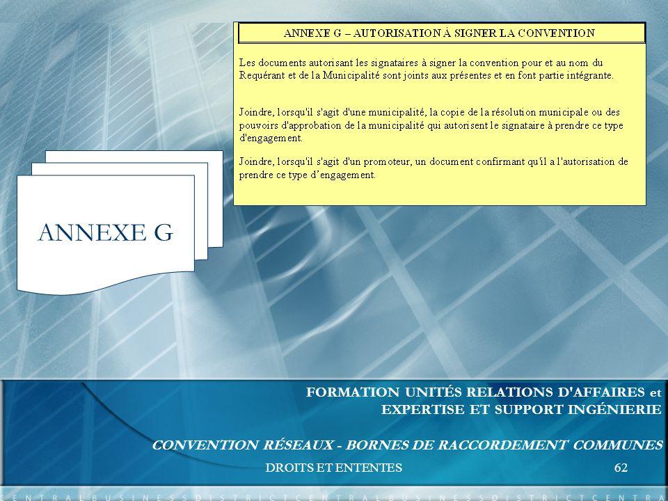 DROITS ET ENTENTES62 FORMATION UNITÉS RELATIONS D AFFAIRES et EXPERTISE ET SUPPORT INGÉNIERIE CONVENTION RÉSEAUX - BORNES DE RACCORDEMENT COMMUNES ANNEXE G