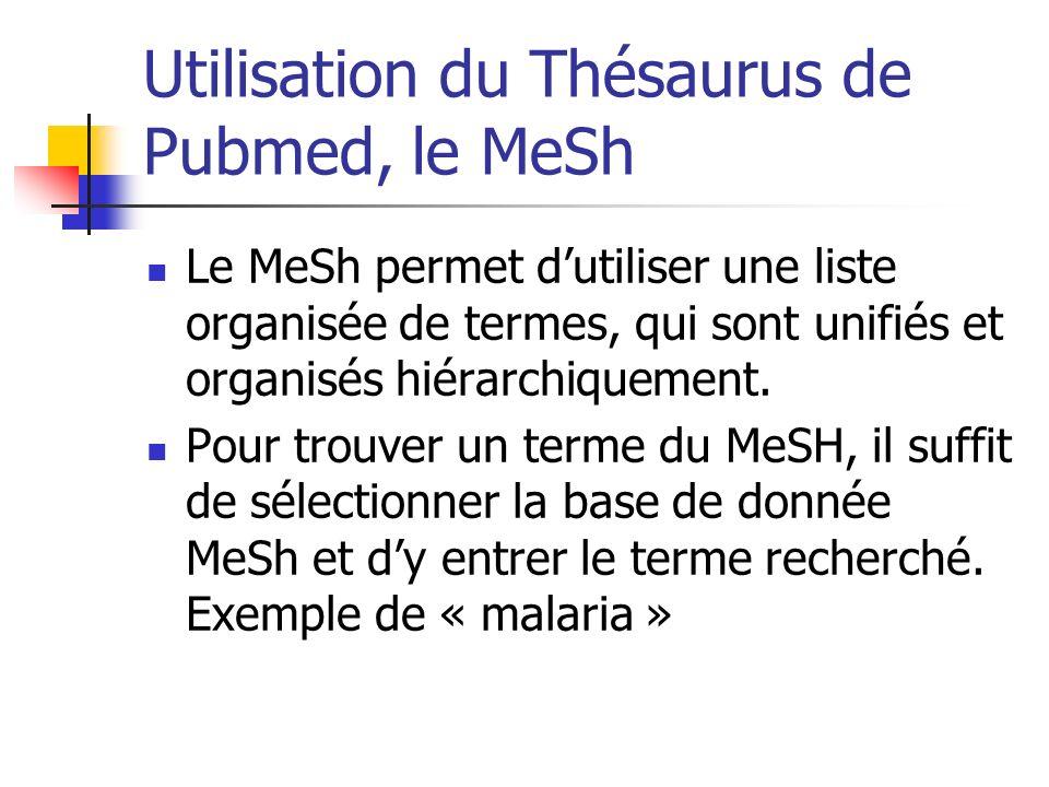 Utilisation du Thésaurus de Pubmed, le MeSh Le MeSh permet dutiliser une liste organisée de termes, qui sont unifiés et organisés hiérarchiquement. Po