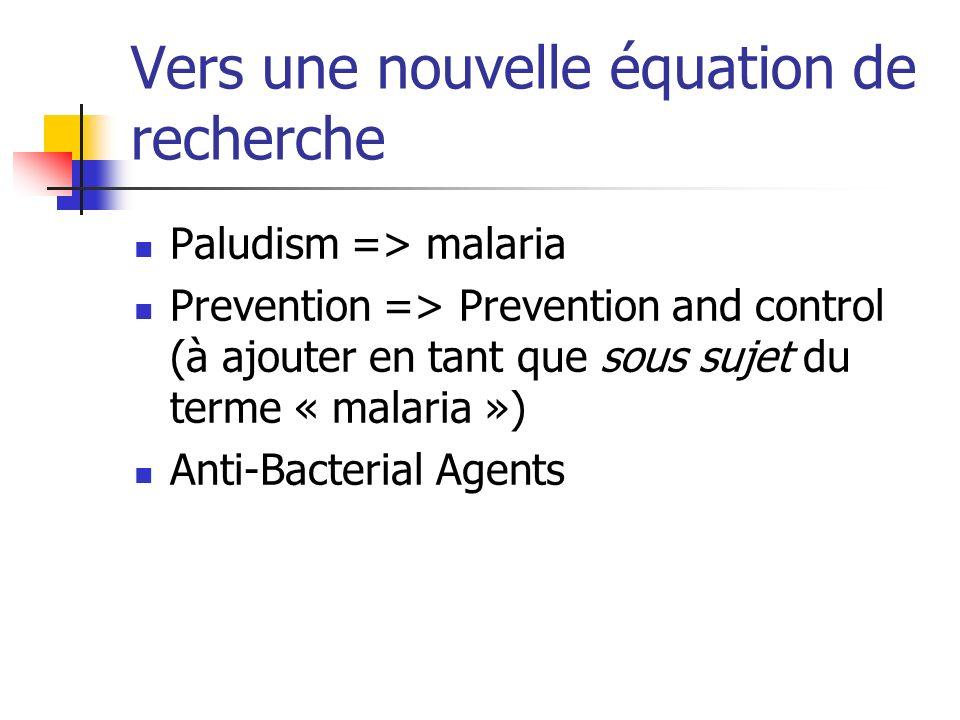 Vers une nouvelle équation de recherche Paludism => malaria Prevention => Prevention and control (à ajouter en tant que sous sujet du terme « malaria