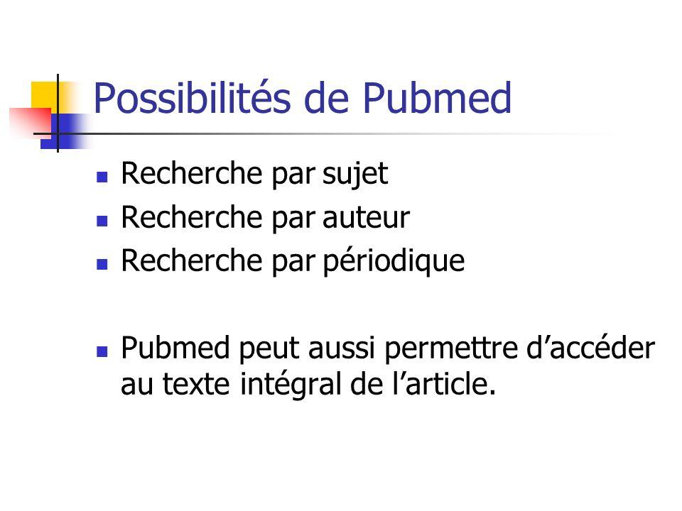 Possibilités de Pubmed Recherche par sujet Recherche par auteur Recherche par périodique Pubmed peut aussi permettre daccéder au texte intégral de lar