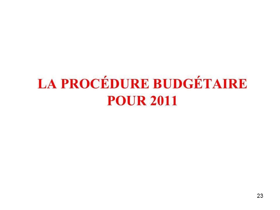 23 LA PROCÉDURE BUDGÉTAIRE POUR 2011